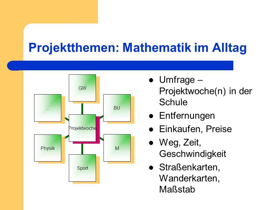 Projektthemen: Mathematik im Alltag