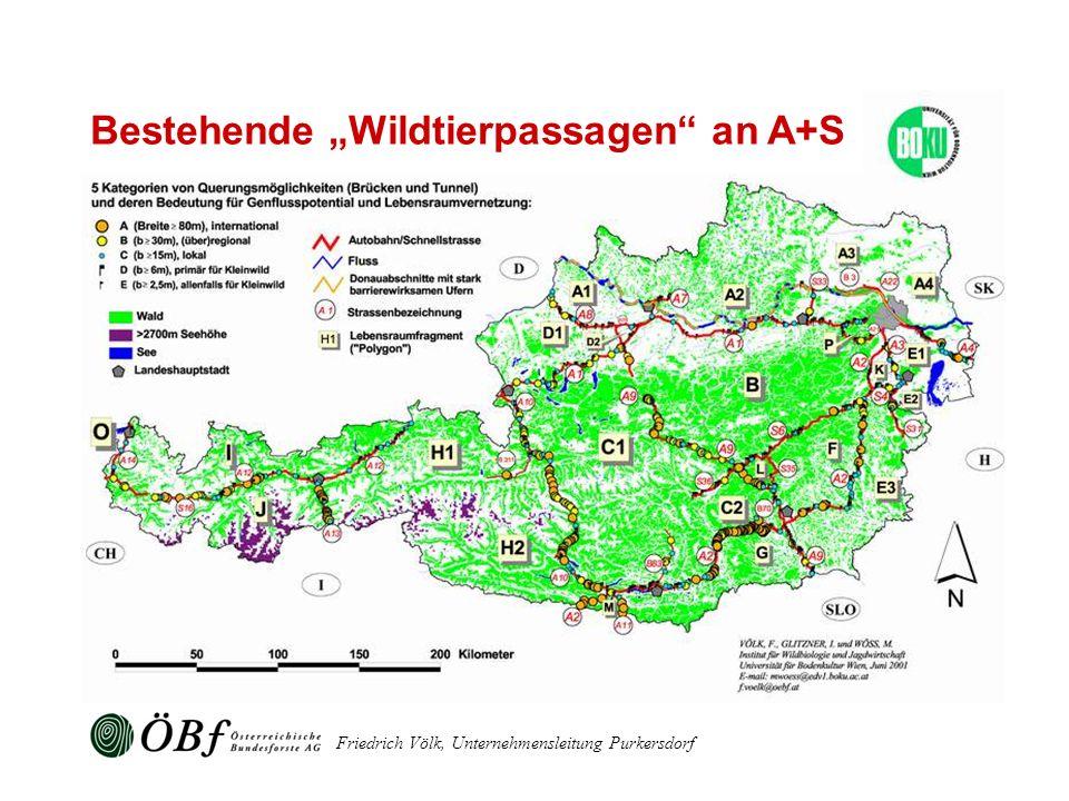 """Bestehende """"Wildtierpassagen an A+S"""