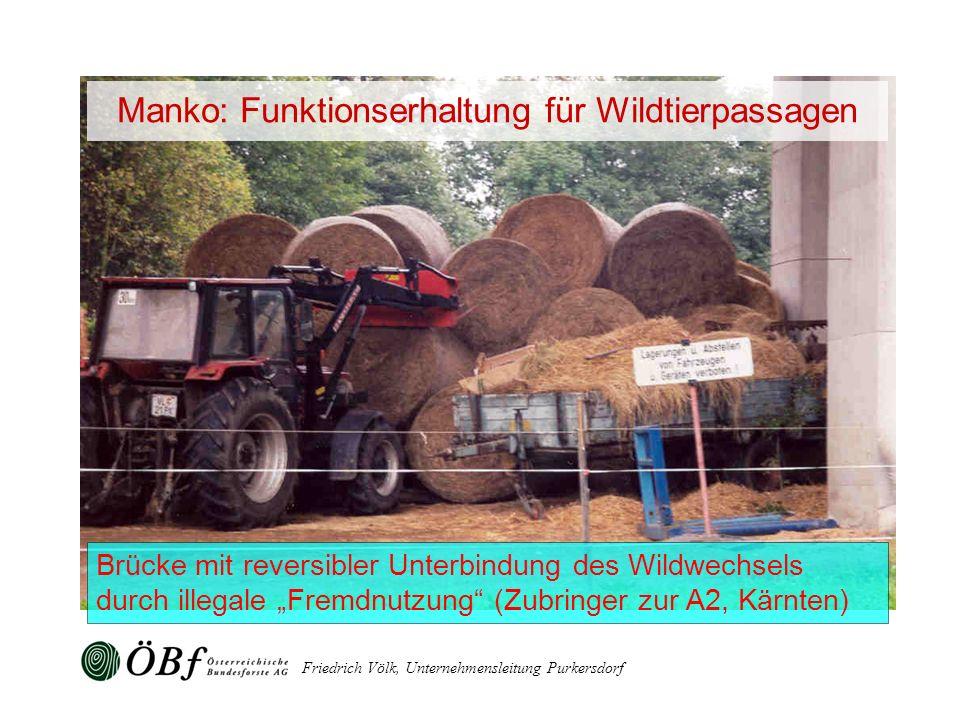 Manko: Funktionserhaltung für Wildtierpassagen