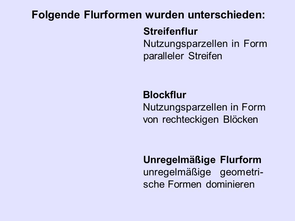 Folgende Flurformen wurden unterschieden: