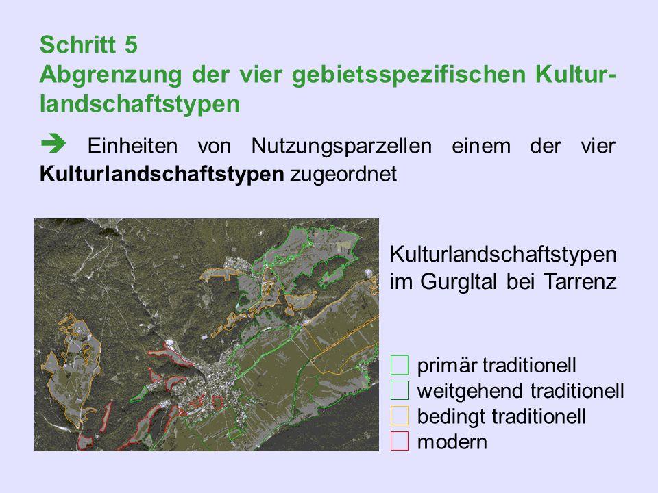 Schritt 5 Abgrenzung der vier gebietsspezifischen Kultur-landschaftstypen.