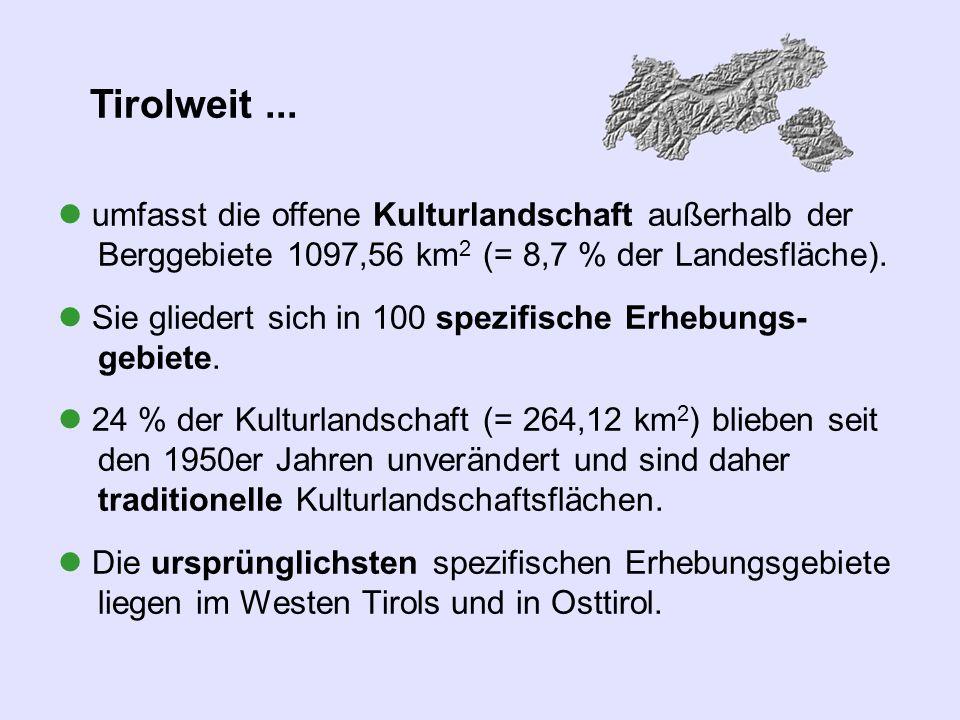 Tirolweit ...  umfasst die offene Kulturlandschaft außerhalb der Berggebiete 1097,56 km2 (= 8,7 % der Landesfläche).