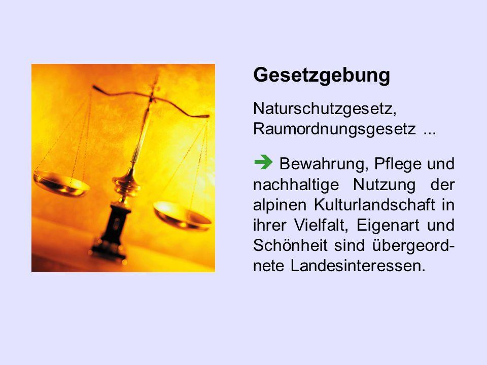 Gesetzgebung Naturschutzgesetz, Raumordnungsgesetz ...