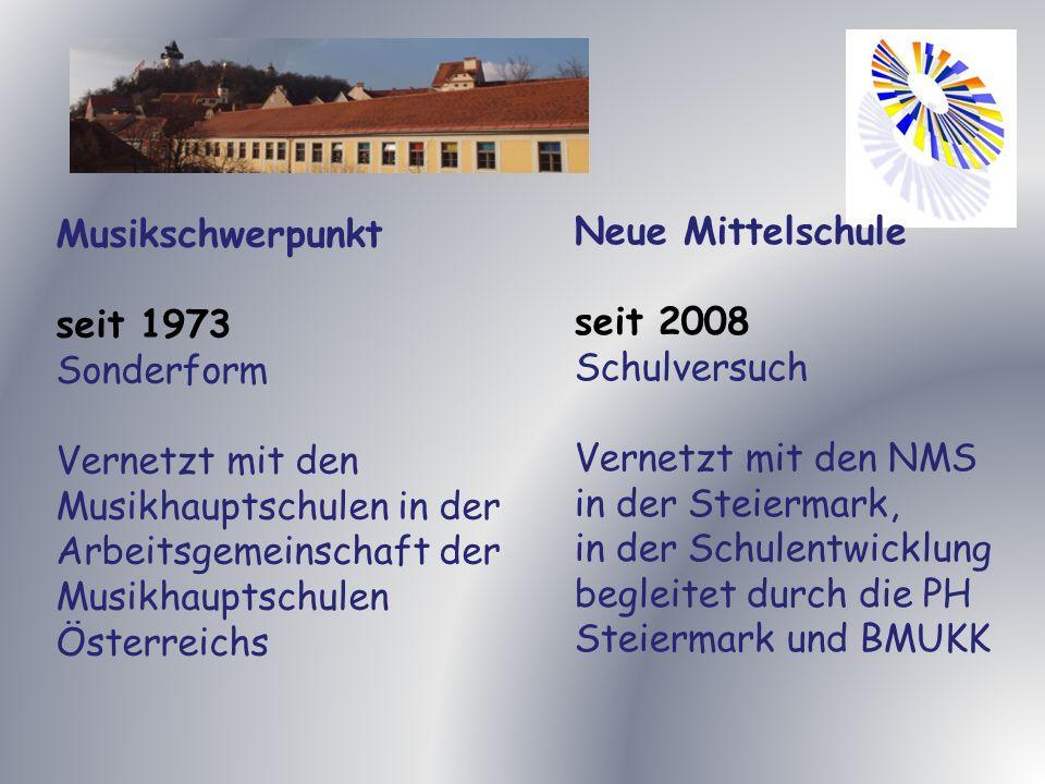 Musikschwerpunkt seit 1973. Sonderform. Vernetzt mit den Musikhauptschulen in der Arbeitsgemeinschaft der Musikhauptschulen Österreichs.