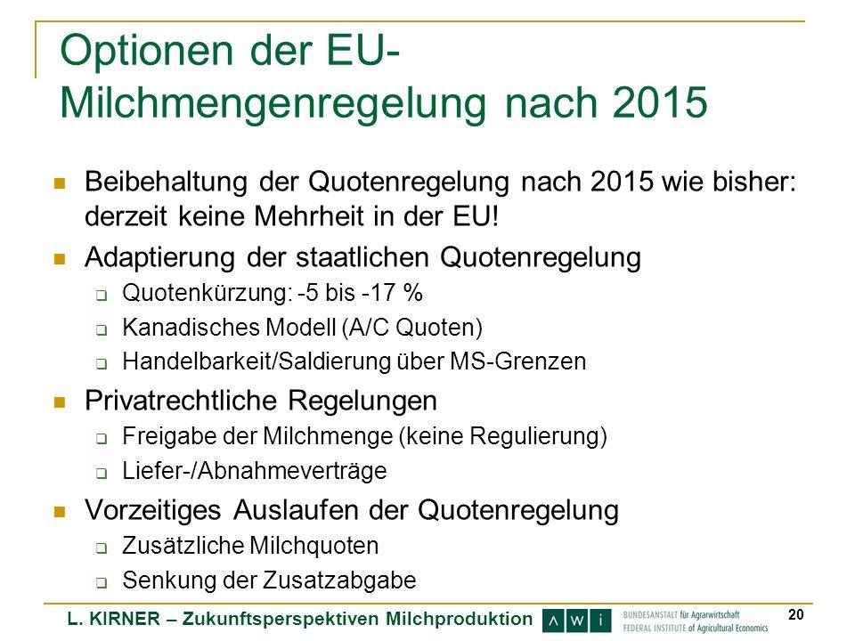 Optionen der EU-Milchmengenregelung nach 2015