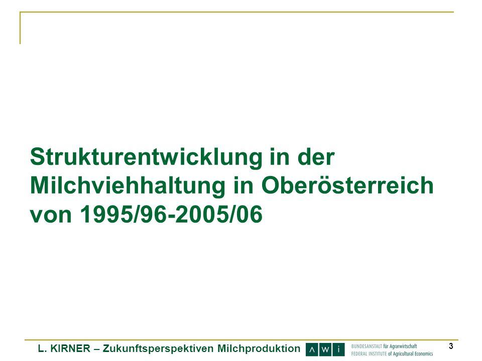 Strukturentwicklung in der Milchviehhaltung in Oberösterreich von 1995/96-2005/06