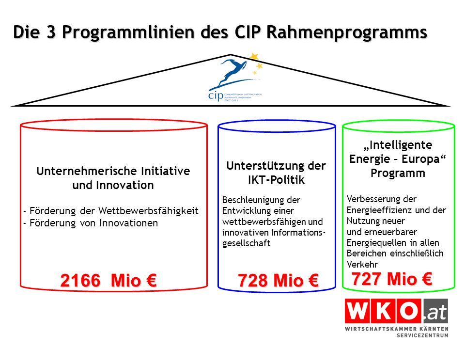 Die 3 Programmlinien des CIP Rahmenprogramms
