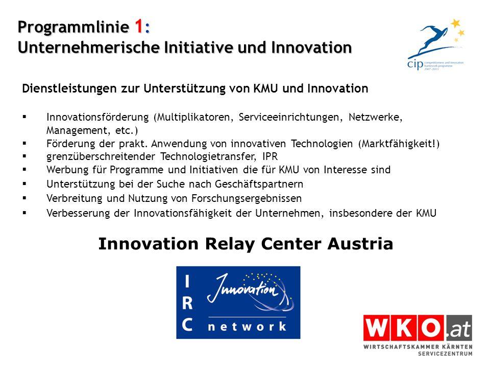 Programmlinie 1: Unternehmerische Initiative und Innovation