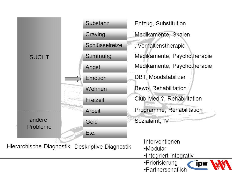 SUCHT andere. Probleme. Hierarchische Diagnostik. Substanz. Craving. Schlüsselreize. Stimmung.