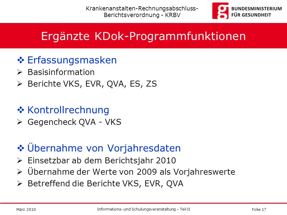 Ergänzte KDok-Programmfunktionen