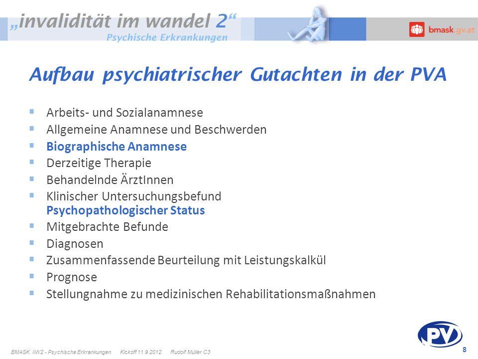 Aufbau psychiatrischer Gutachten in der PVA