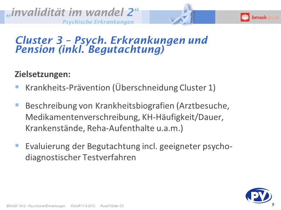 Cluster 3 – Psych. Erkrankungen und Pension (inkl. Begutachtung)