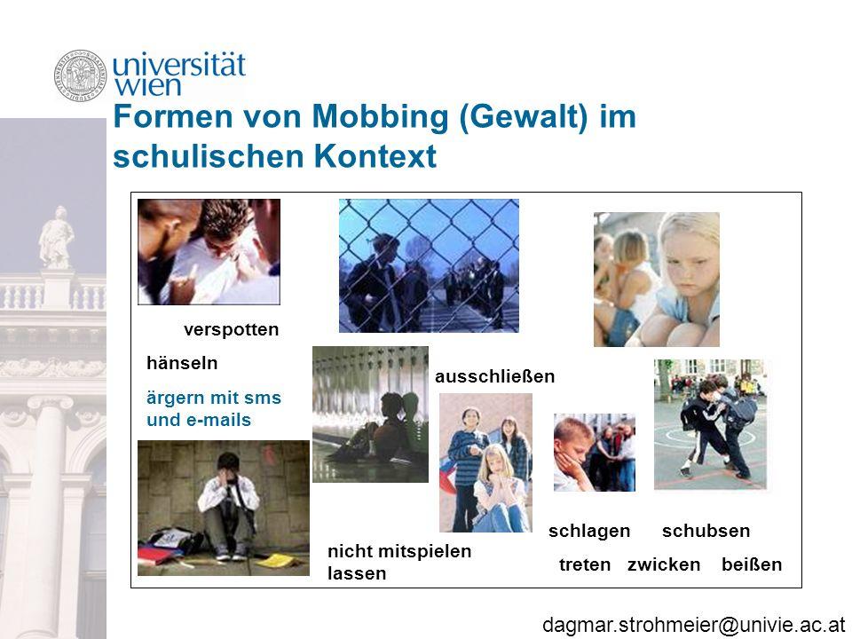 Formen von Mobbing (Gewalt) im schulischen Kontext