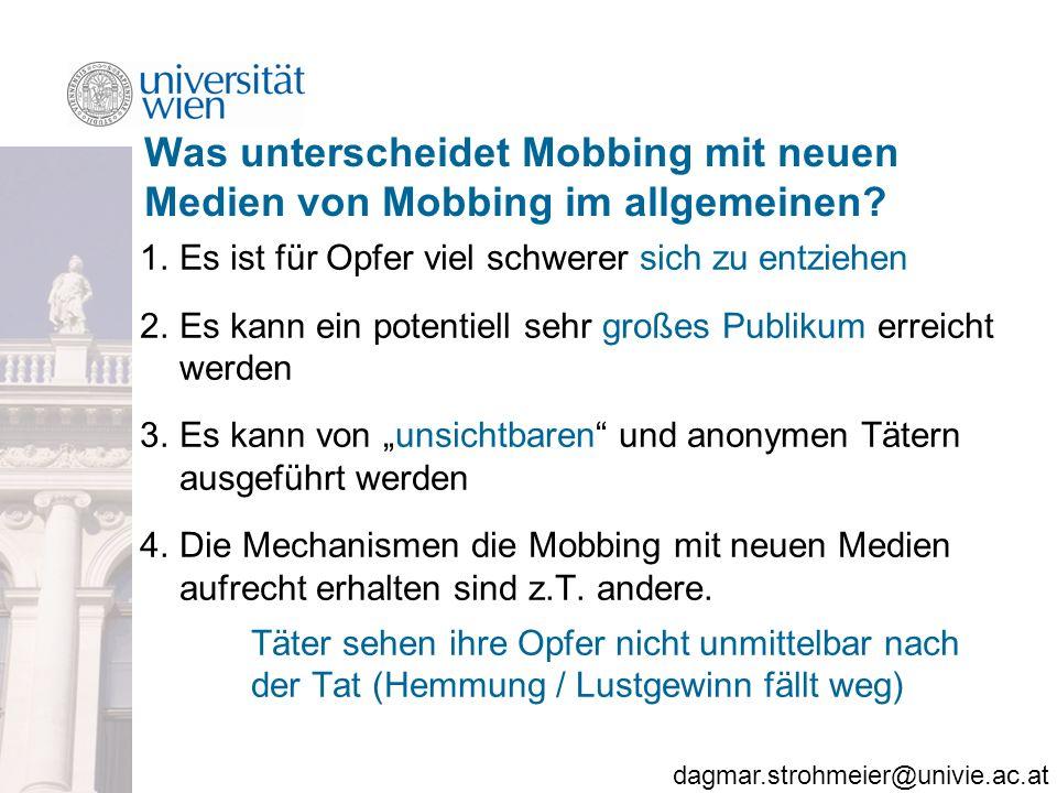 Was unterscheidet Mobbing mit neuen Medien von Mobbing im allgemeinen