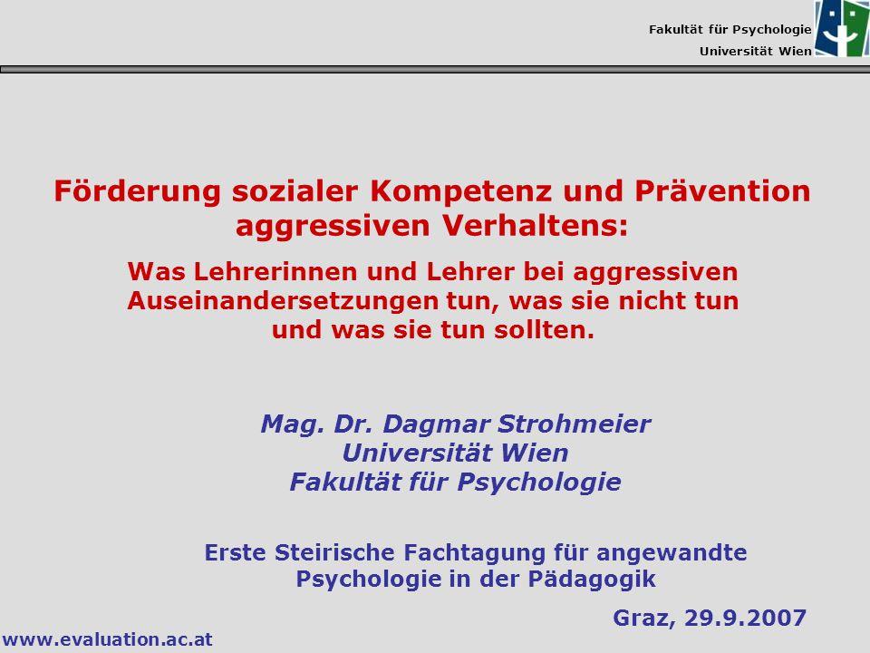 Förderung sozialer Kompetenz und Prävention aggressiven Verhaltens:
