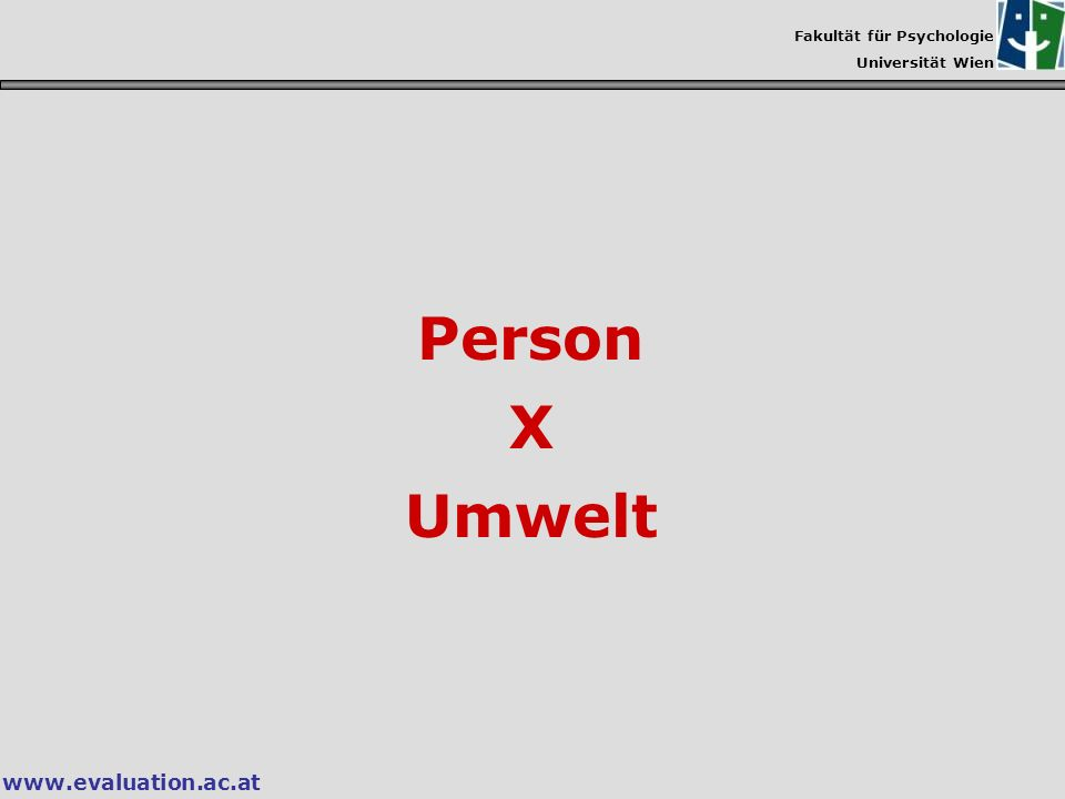 Person X Umwelt www.evaluation.ac.at