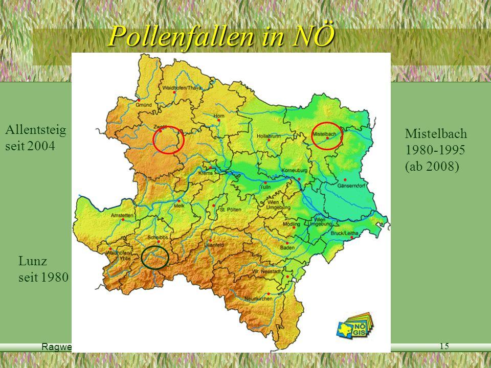 Pollenfallen in NÖ Allentsteig Mistelbach seit 2004