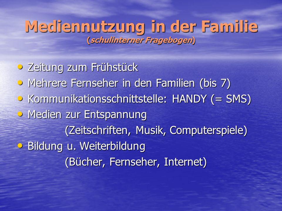 Mediennutzung in der Familie (schulinterner Fragebogen)