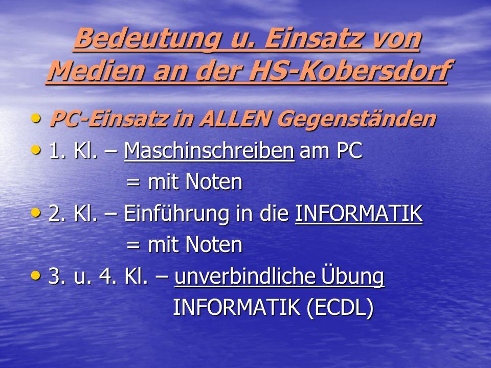 Bedeutung u. Einsatz von Medien an der HS-Kobersdorf