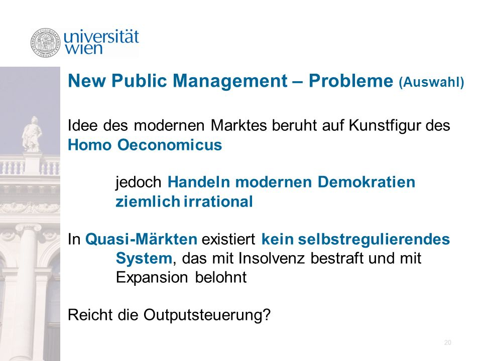 New Public Management – Probleme (Auswahl)