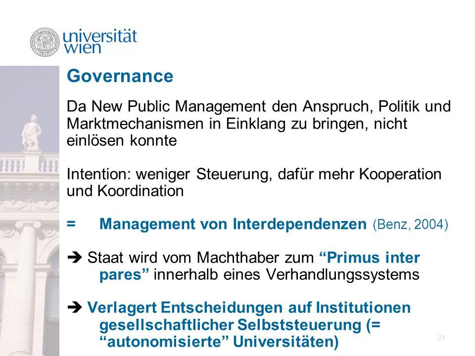 Governance Da New Public Management den Anspruch, Politik und Marktmechanismen in Einklang zu bringen, nicht einlösen konnte.