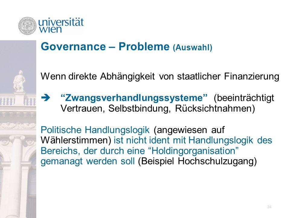 Governance – Probleme (Auswahl)