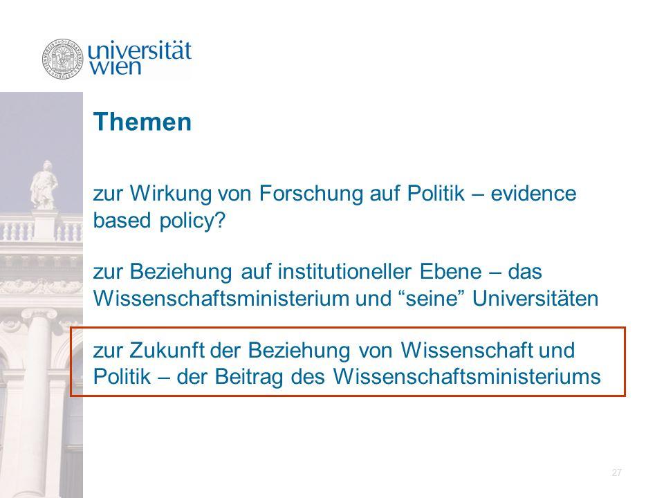 Themen zur Wirkung von Forschung auf Politik – evidence based policy