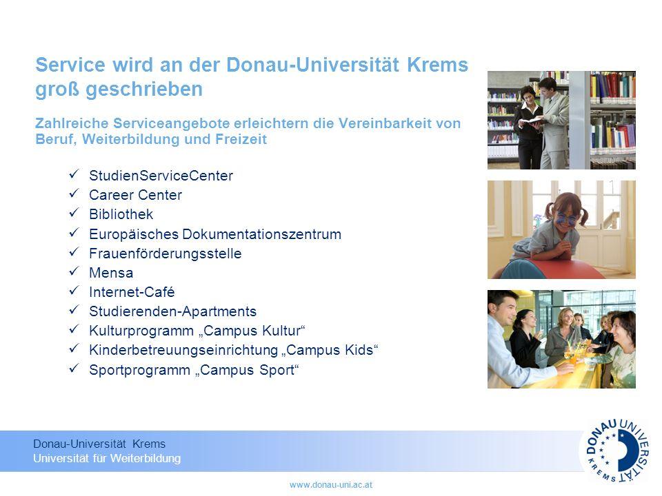 Service wird an der Donau-Universität Krems groß geschrieben
