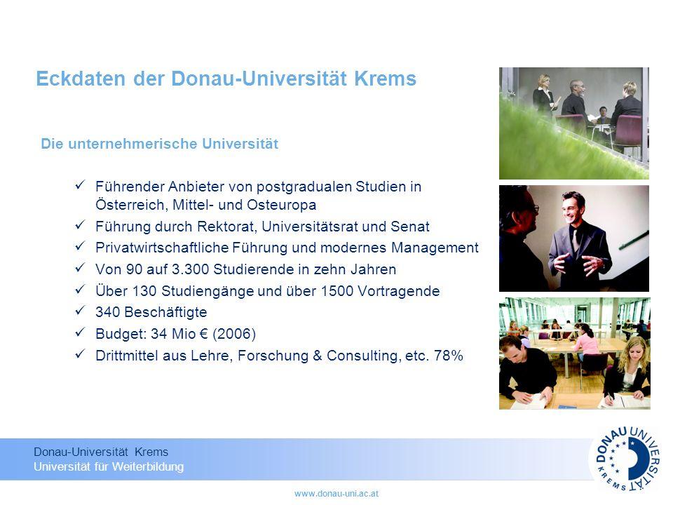 Eckdaten der Donau-Universität Krems