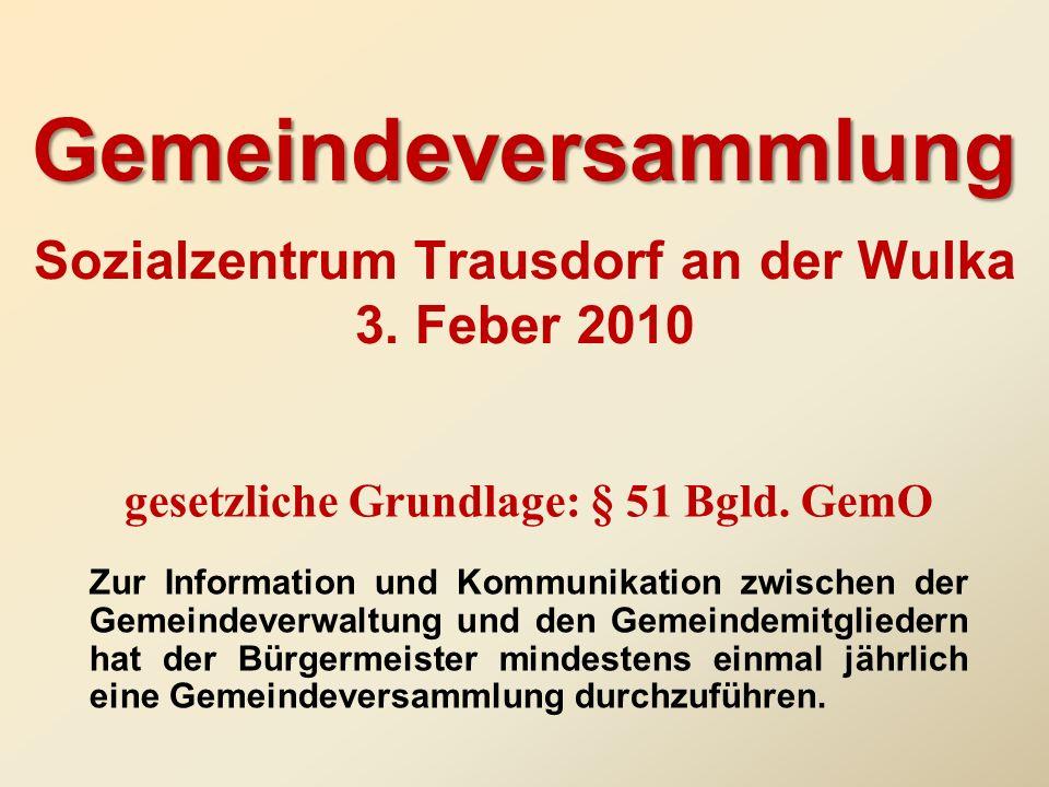 Gemeindeversammlung Sozialzentrum Trausdorf an der Wulka 3. Feber 2010