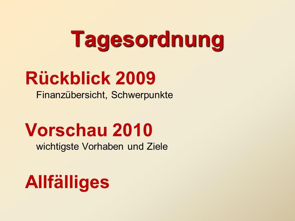 Tagesordnung Rückblick 2009 Finanzübersicht, Schwerpunkte