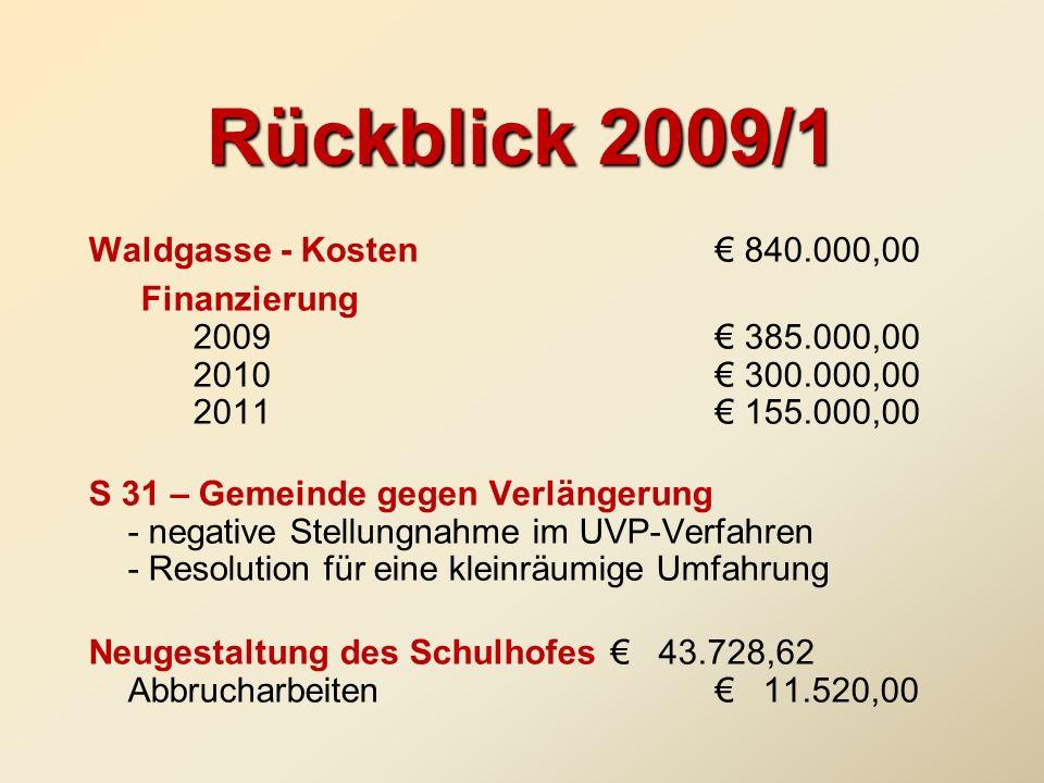 Rückblick 2009/1 Waldgasse - Kosten € 840.000,00
