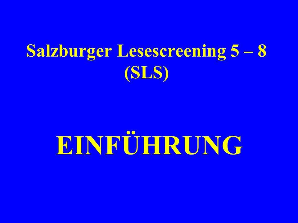 Salzburger Lesescreening 5 – 8 (SLS)