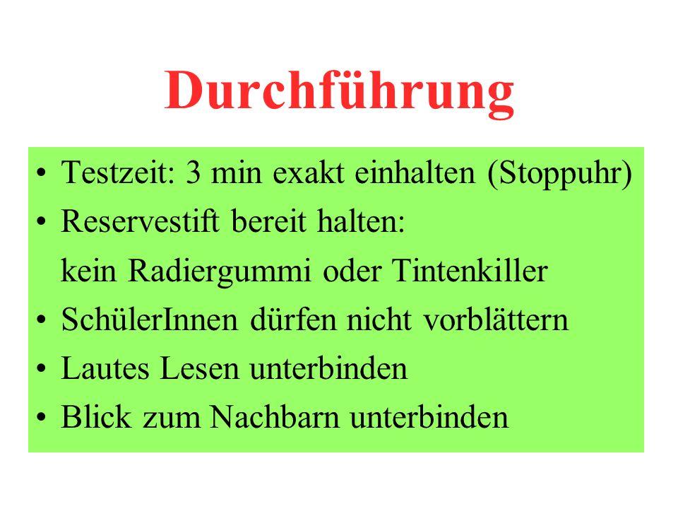 Durchführung Testzeit: 3 min exakt einhalten (Stoppuhr)
