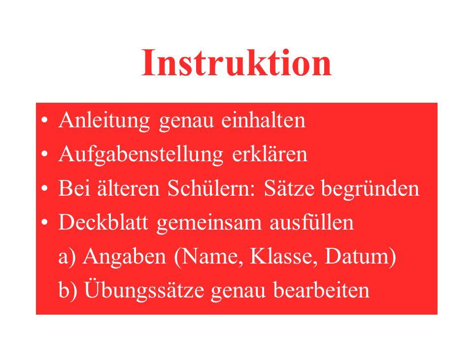 Instruktion Anleitung genau einhalten Aufgabenstellung erklären