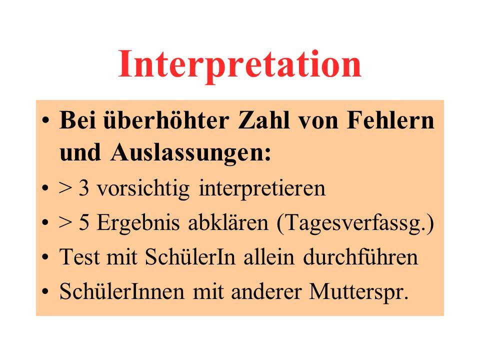 Interpretation Bei überhöhter Zahl von Fehlern und Auslassungen: