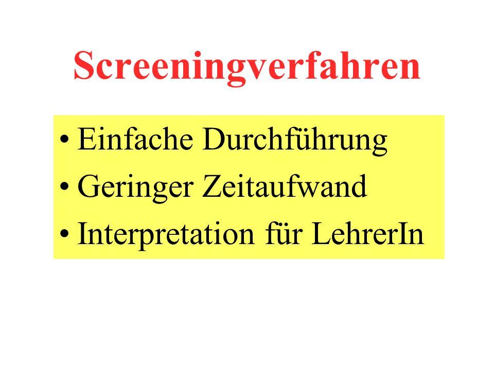 Screeningverfahren Einfache Durchführung Geringer Zeitaufwand