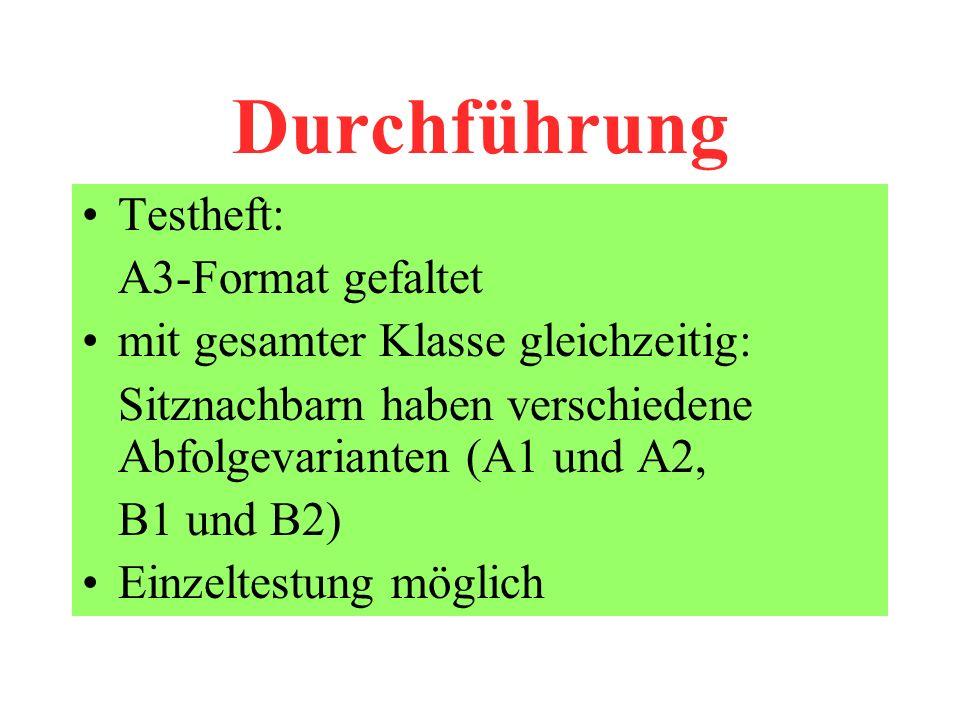 Durchführung Testheft: A3-Format gefaltet