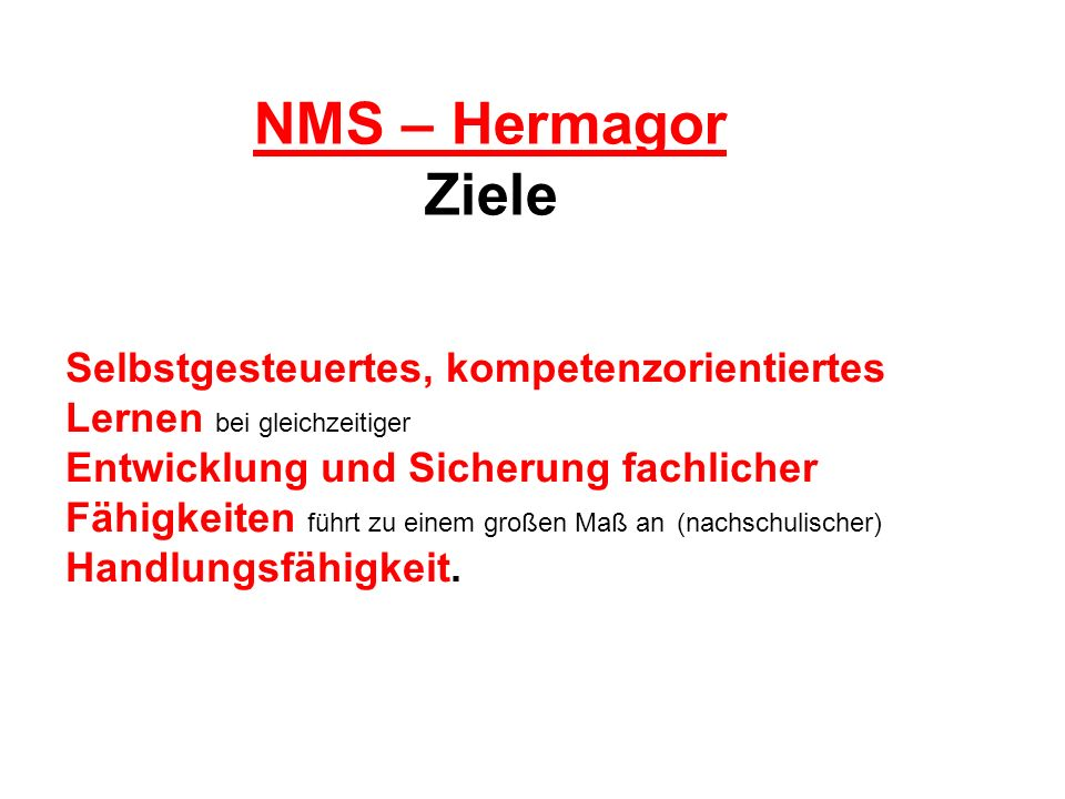 NMS – Hermagor Ziele