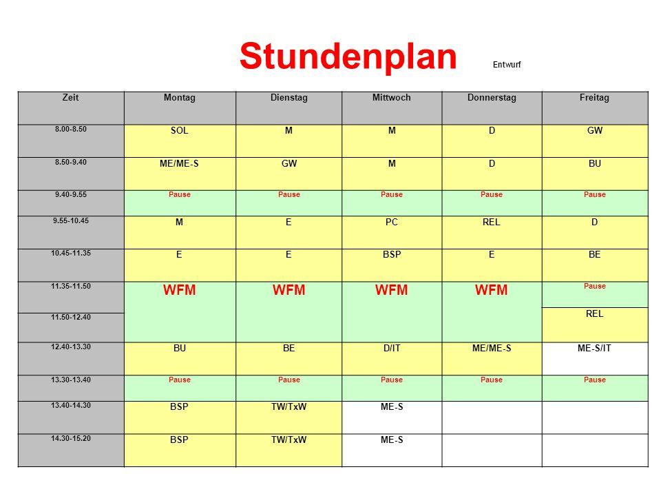 Stundenplan WFM Entwurf Zeit Montag Dienstag Mittwoch Donnerstag