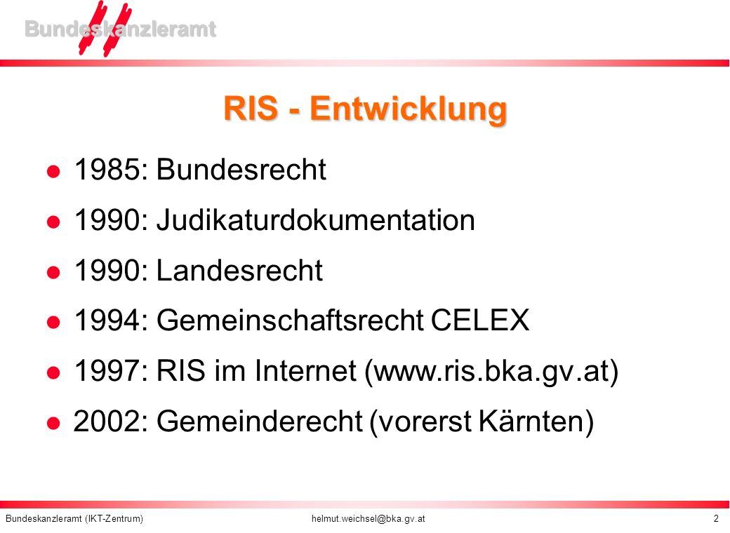 RIS - Entwicklung 1985: Bundesrecht 1990: Judikaturdokumentation