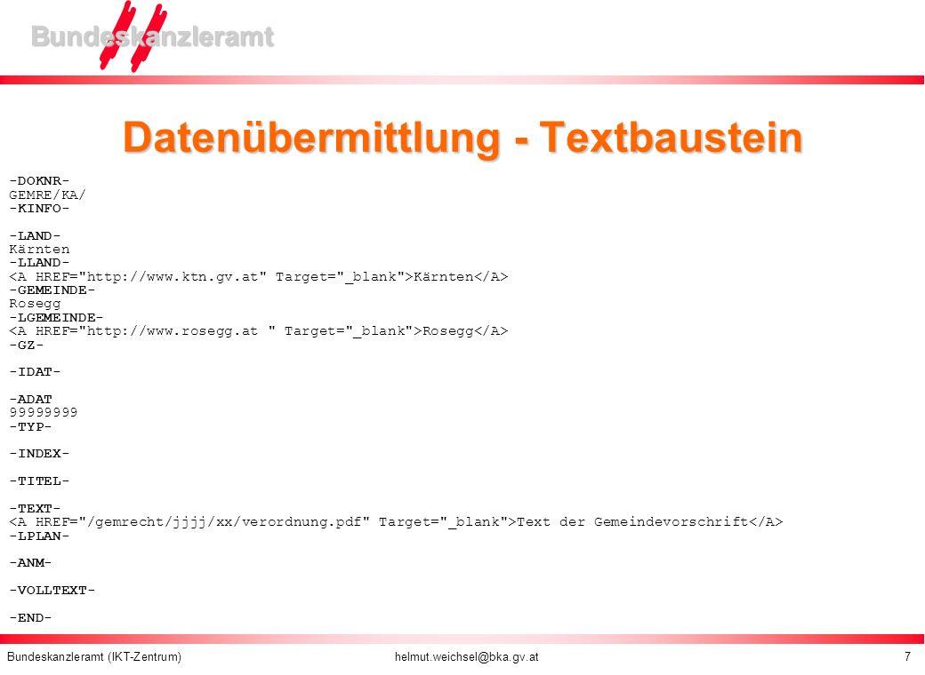 Datenübermittlung - Textbaustein