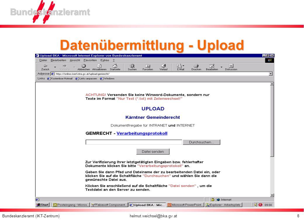 Datenübermittlung - Upload