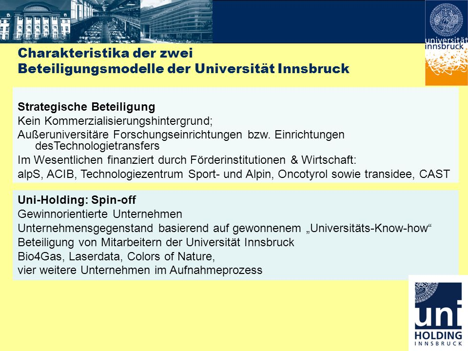 Charakteristika der zwei Beteiligungsmodelle der Universität Innsbruck