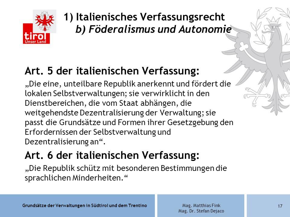 1) Italienisches Verfassungsrecht b) Föderalismus und Autonomie