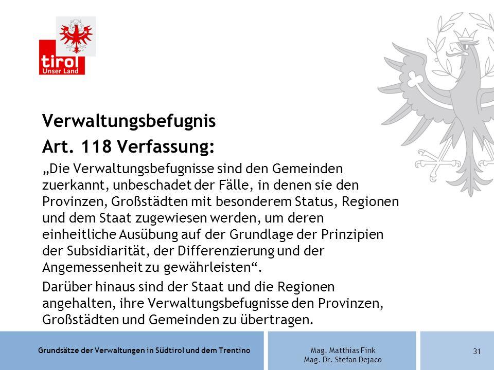 Verwaltungsbefugnis Art. 118 Verfassung: