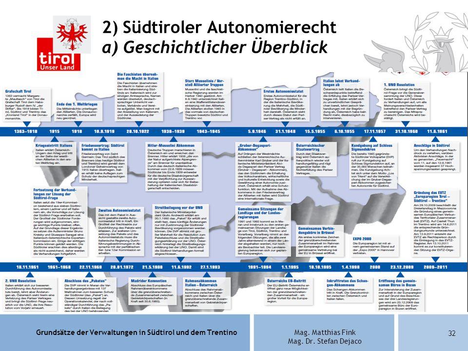 2) Südtiroler Autonomierecht a) Geschichtlicher Überblick