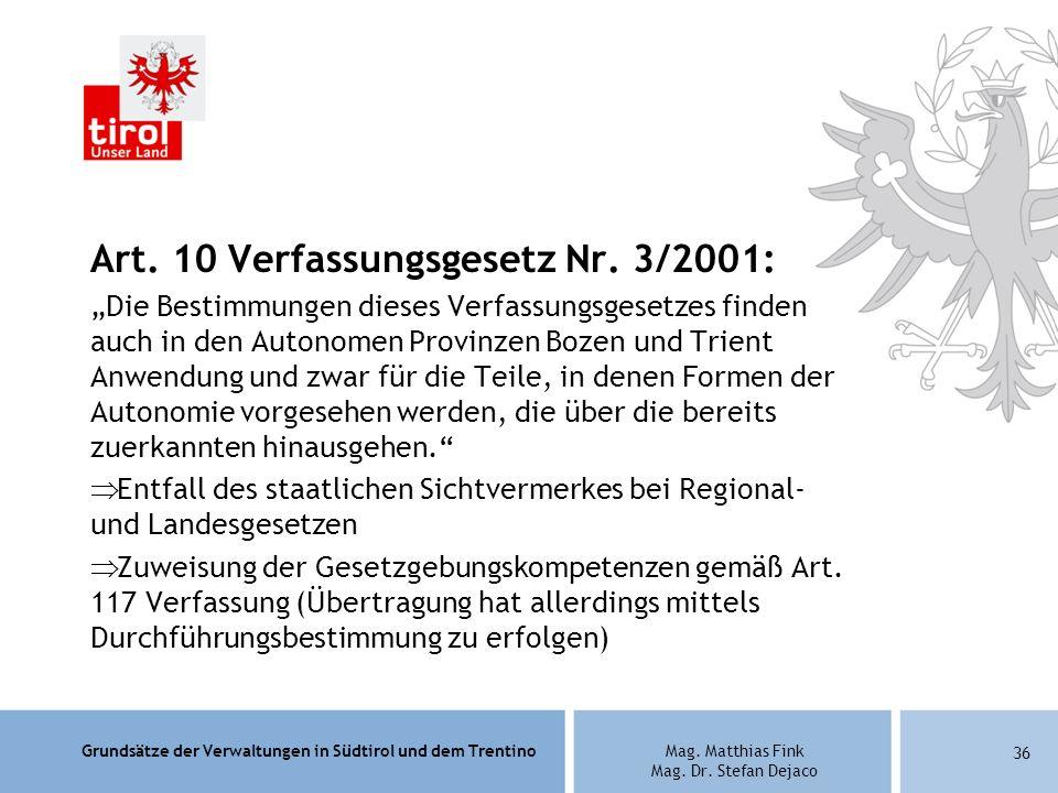 Art. 10 Verfassungsgesetz Nr. 3/2001: