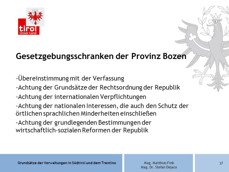 Gesetzgebungsschranken der Provinz Bozen