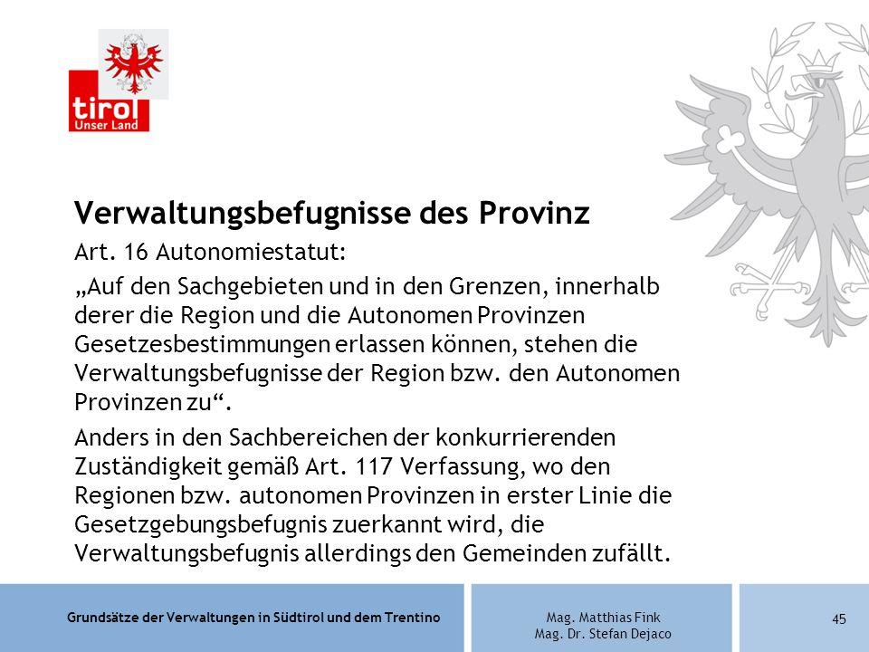 Verwaltungsbefugnisse des Provinz